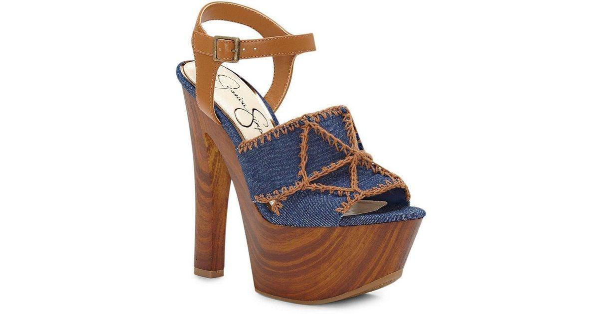 Dezzie Denim Platform Sandals 4NQC74lMG
