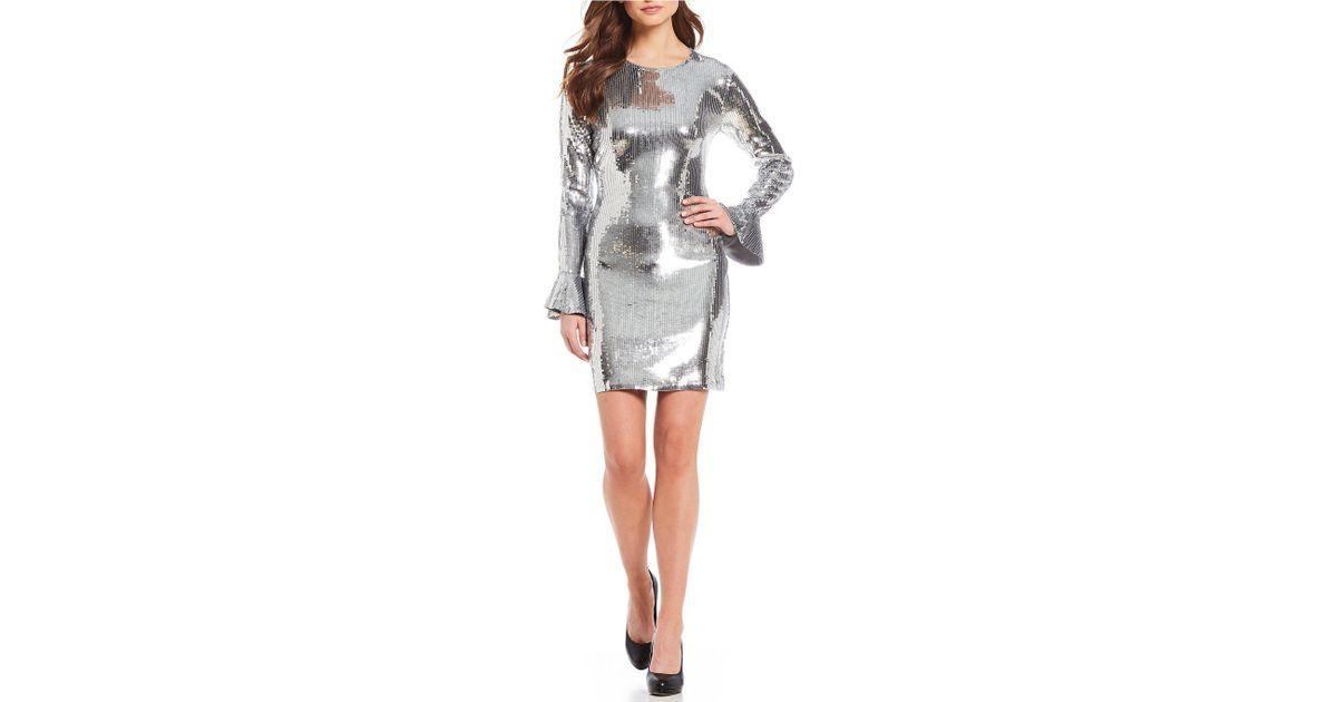1b00e7951d Lyst - MICHAEL Michael Kors Sequin Ruffle Cuff Dress