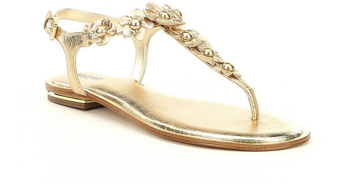 afff9fe1b Lyst - MICHAEL Michael Kors Tricia Metallic Floral Thong Sandals in Metallic