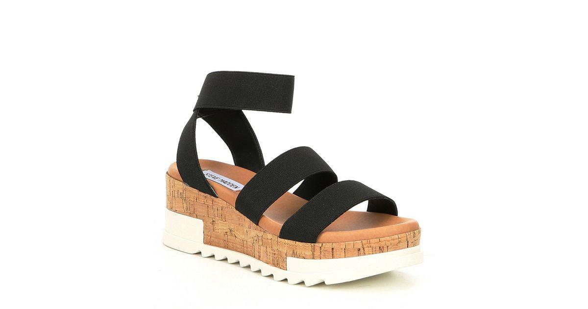 83c0a61dff1 Lyst - Steve Madden Bandi Elastic Cork Flatform Sandals in Black