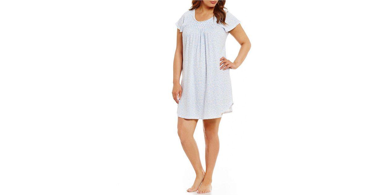 086c5c5f99 Lyst - Miss Elaine Plus Cottonessa Scroll   Vine Nightgown in Blue