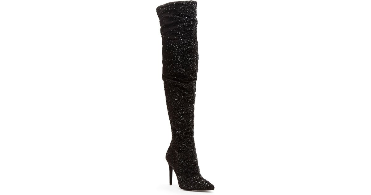 7bdf6c0d861 Lyst - Jessica Simpson Luxella Hotfix Embellishment Over The Knee Boots in  Black