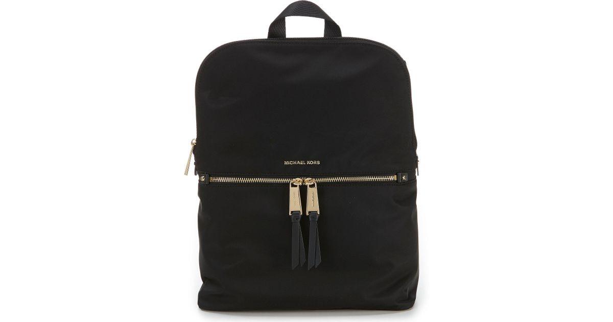 Lyst - MICHAEL Michael Kors Polly Medium Nylon Slim Backpack in Black 849de9367487c