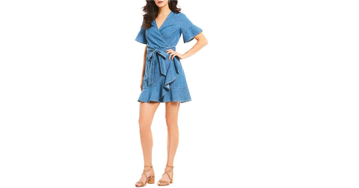 d02d239b Draper James Chambray Ruffle Hem Tie Waist Bell Sleeve Wrap Dress in Blue -  Lyst