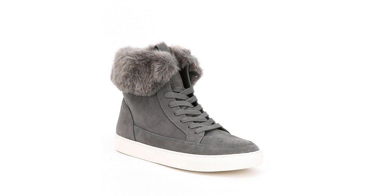 252c4af065f Gianni Bini Natural Lainden Faux Fur Trim Sneakers