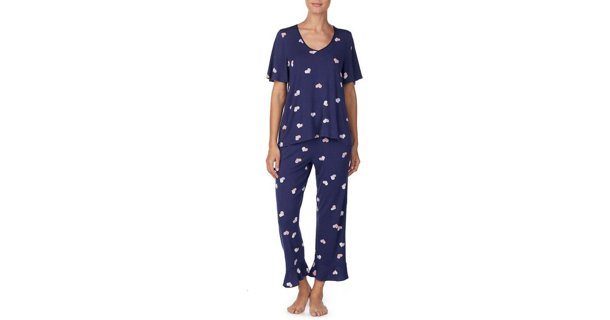 8a56c7fef01 Lyst - Kate Spade Heart-print Jersey Cropped Pajama Set in Blue