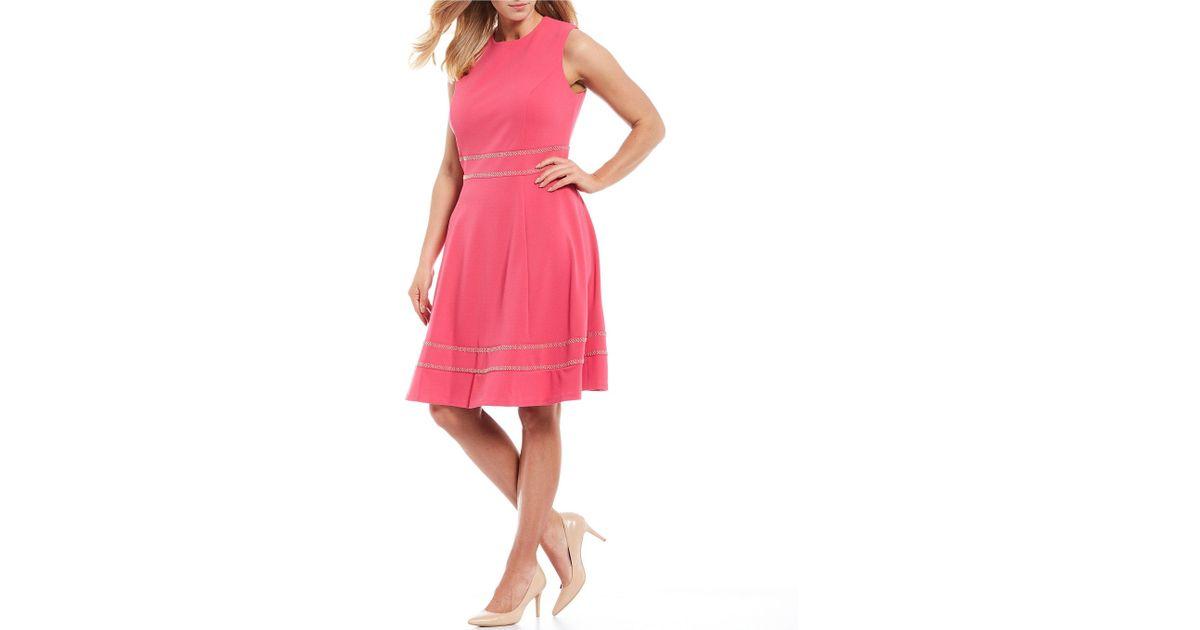 Calvin Klein Pink Plus Size Hot Fix Embellished Waist A-line Dress