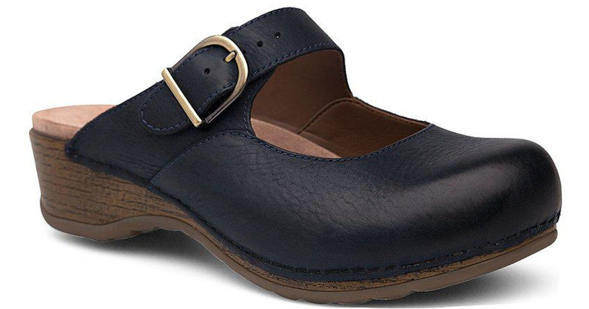 Dansko Dankso Martina Leather Open Back Buckle Strap Clogs YnKDY9x