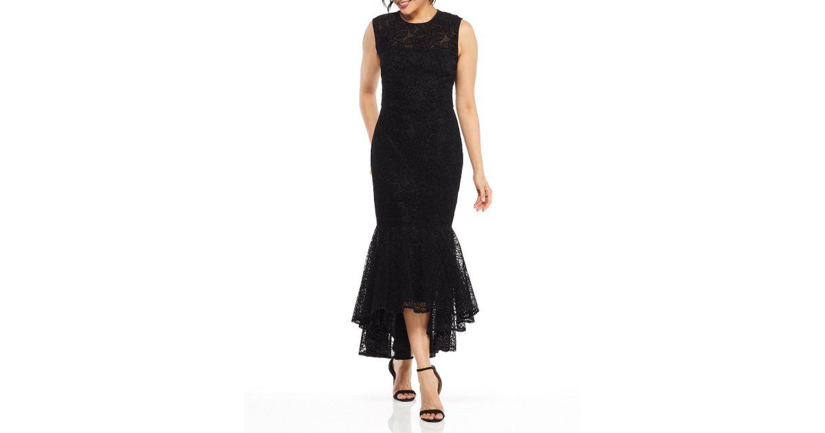 9d675e8a Maggy London Flounce Chantilly Velvet Lace Sheath Midi Dress in Black - Lyst