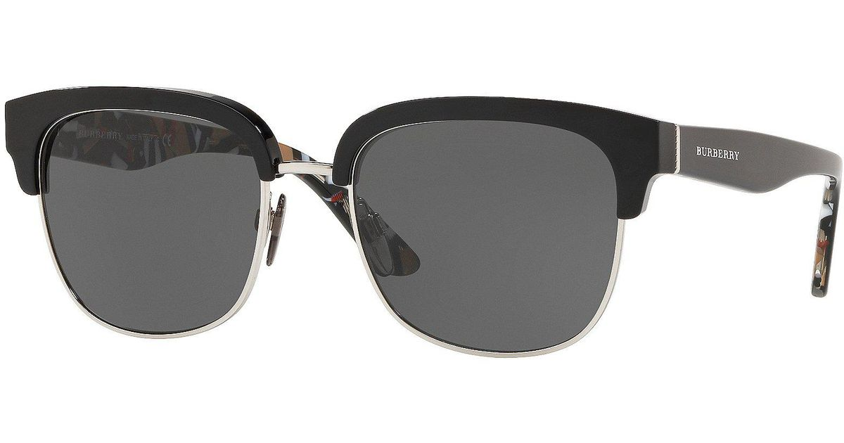 eb5f3c75edcc Lyst - Burberry Marble Check Collection Square Sunglasses in Black for Men