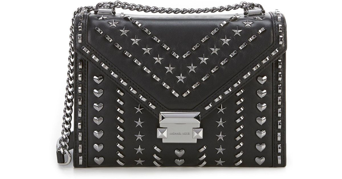 e1ef23eb2972 Lyst - MICHAEL Michael Kors Star And Heart Studded Whitney Large Shoulder  Bag in Black