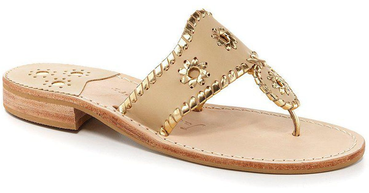 Jack Rogers Nantucket Leather Metallic Whipstitched Slip-On Sandals 3FadnCTBj