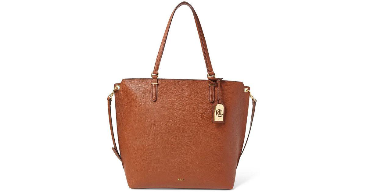 Lyst - Lauren by Ralph Lauren Medium Abby Tote Bag in Brown becdf60fa2