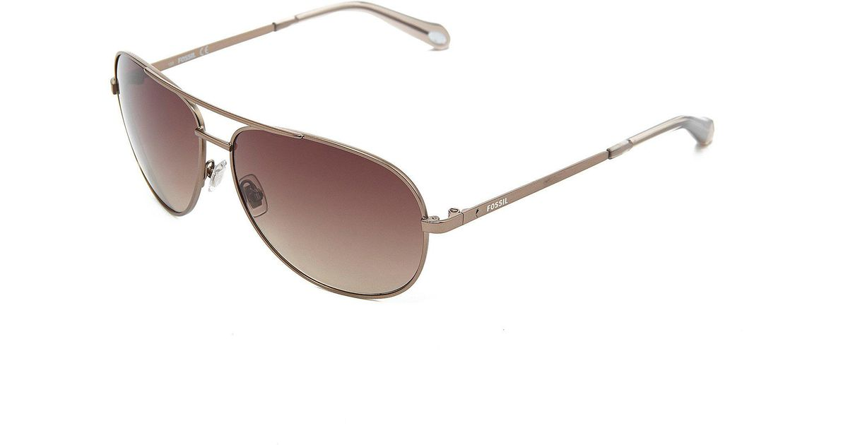 b78ee0c94a Fossil Metal Aviator Sunglasses in Black - Lyst