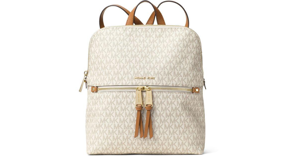 2784de413e63 Lyst - MICHAEL Michael Kors Rhea Signature Zip Slim Backpack