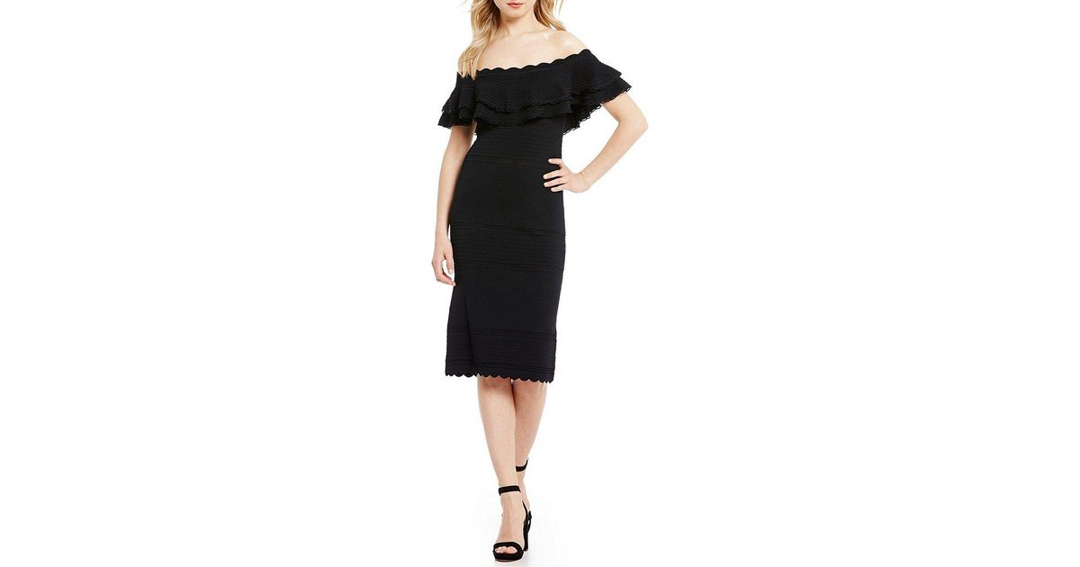 fb9e8028628 Eliza J Off-the-shoulder Ruffle Sheath Dress in Black - Lyst