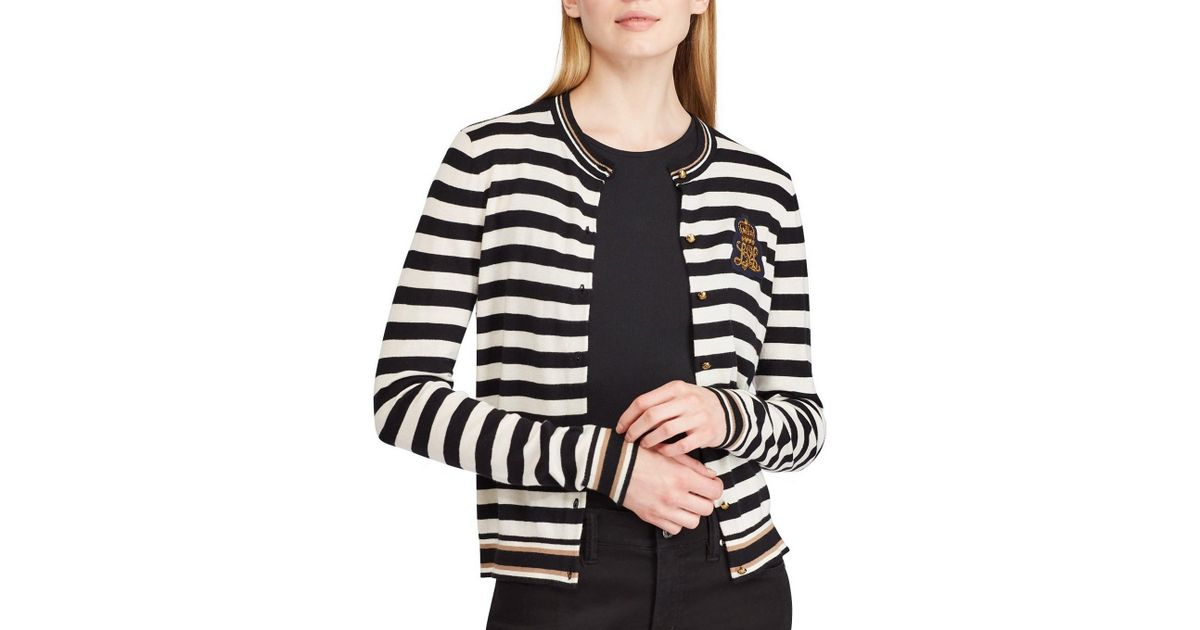 Lyst - Lauren By Ralph Lauren Striped Bullion-patch Cardigan in Black - Save  40.67796610169491% ae3097c3d