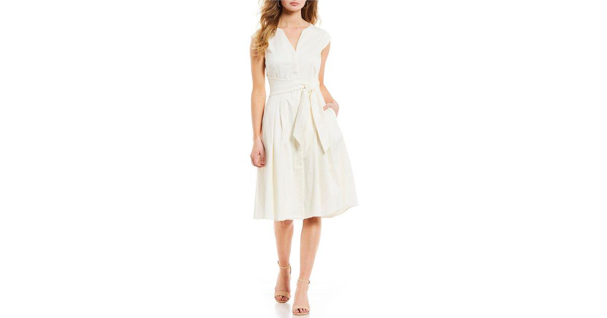 afa7a382a2 Antonio Melani Bree Split V-neck Cap Sleeve Pocketed Tie Detail Fit   Flare Midi  Dress in White - Lyst