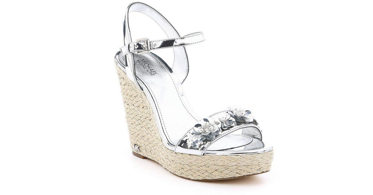 e0b29771f37 MICHAEL Michael Kors Metallic Jill Sequin Floral Detail Espadrille Wedge  Sandals