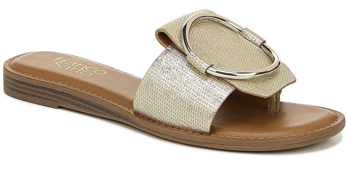 76c95edc1893 Lyst - Franco Sarto Gretel Leather Slides in Metallic