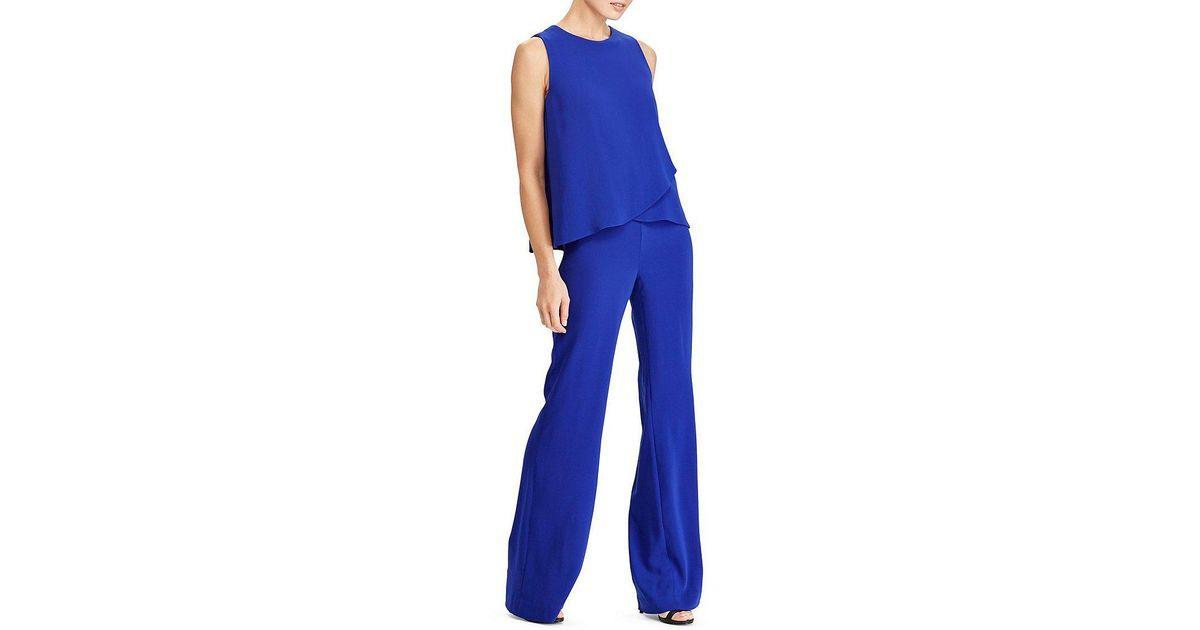7c1cdf0245d Lyst - Lauren by Ralph Lauren Crepe Overlay Jumpsuit in Blue