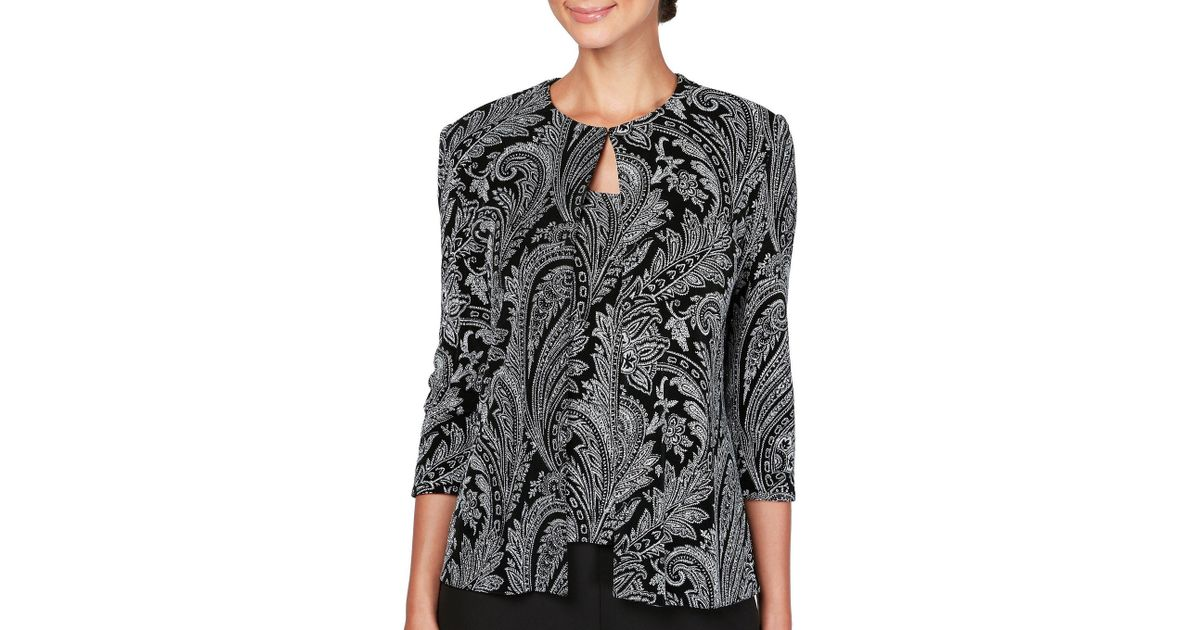 69d644f30d6 Lyst - Alex Evenings Petite Size Paisley Print Glitter Knit Twinset in Black