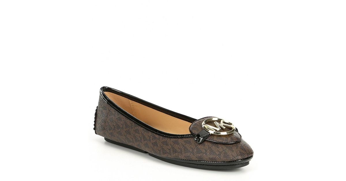 f2ef95dc2a6c Lyst - MICHAEL Michael Kors Lillie Logo Leather Moccasins in Brown
