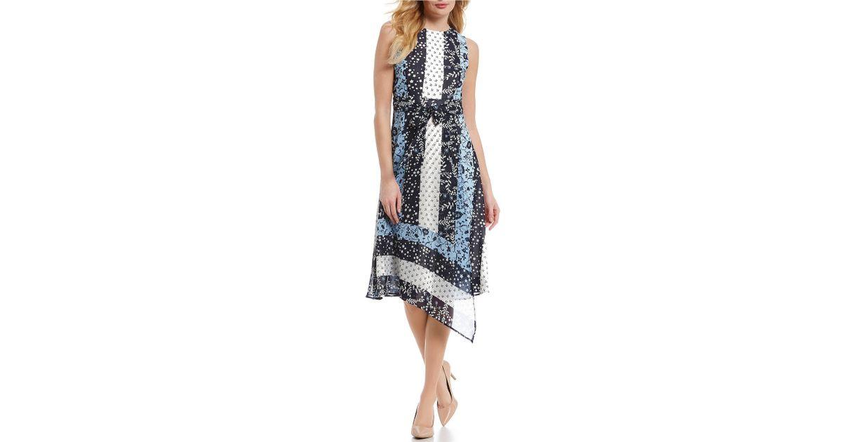 Lyst Calvin Klein Patchwork Pieced Print Faux Side Wrap Style Midi