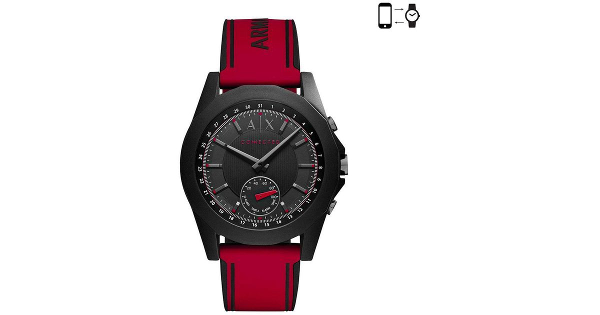 40eecf0c817 Lyst - Armani Exchange Connected Silicone-strap Hybrid Smart Watch in Black  for Men