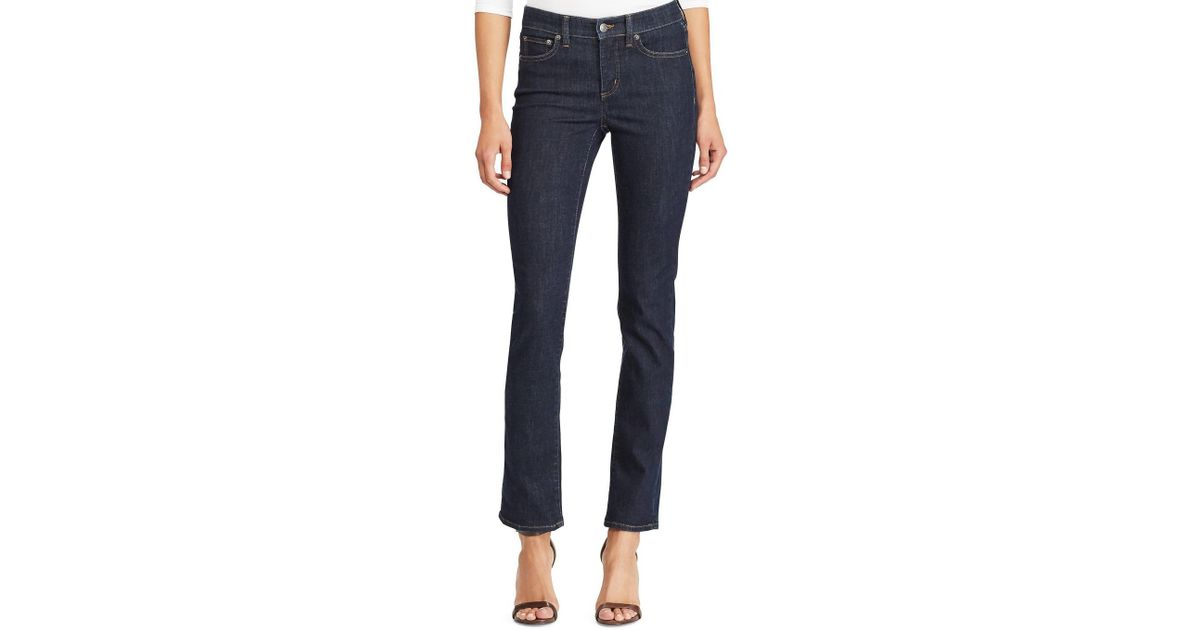2210d873c42 Lyst - Lauren by Ralph Lauren Ultimate Slimming Premier Straight Leg Ankle  Jeans in Blue