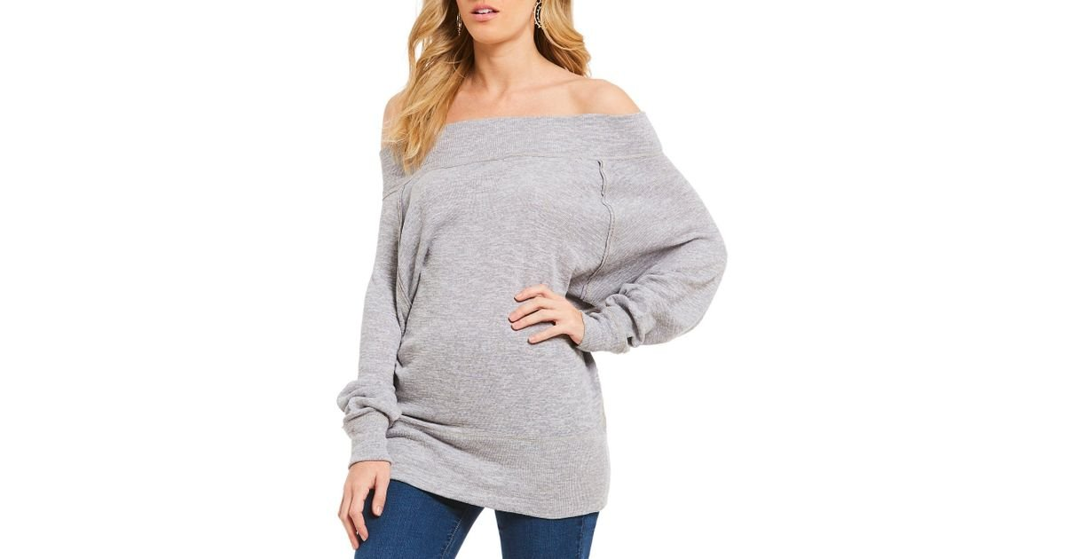 d08caa81c97e16 Lyst - Free People Palisades Thermal Off-the-shoulder Tunic Top in Gray