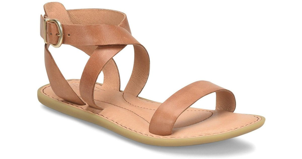 67f5f667a5a Born - Brown Oak Leather Flat Banded Sandals - Lyst