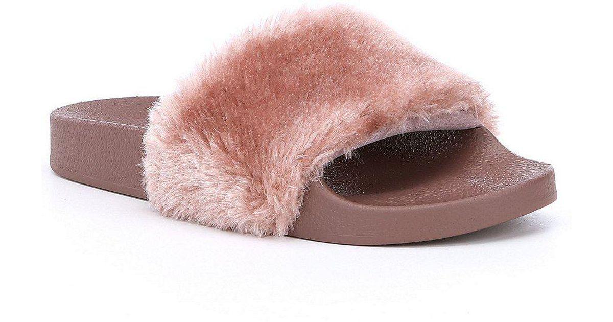 ad62cb994 Steve Madden Softey Faux Fur Slide-on Sandals in Purple - Lyst