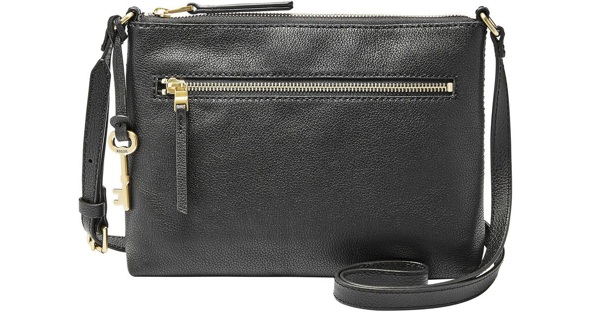 23f12e8c8b Lyst - Fossil Fiona Small Gold Hardware Cross-body Bag in Black
