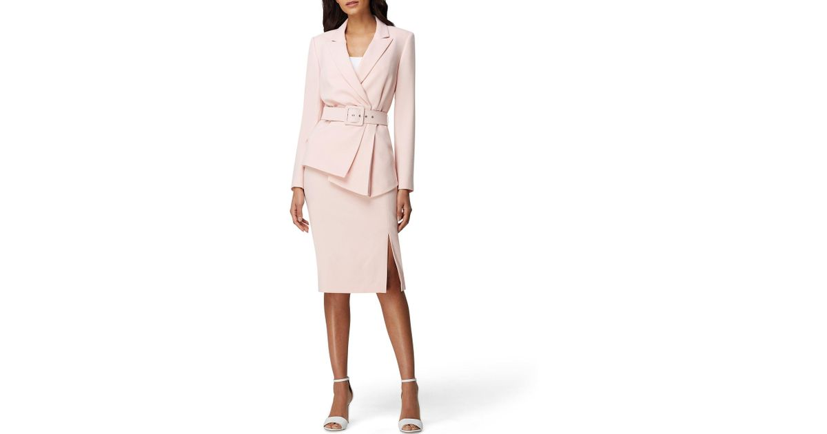 fea01864563f Tahari Belted Jacket Skirt Suit in Pink - Lyst