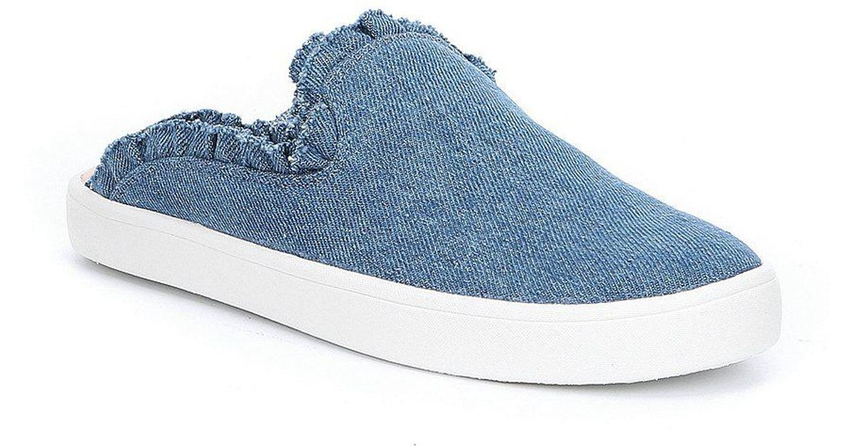 kate spade new york Liane Denim Ruffle Detail Mules RhxtXgVhez