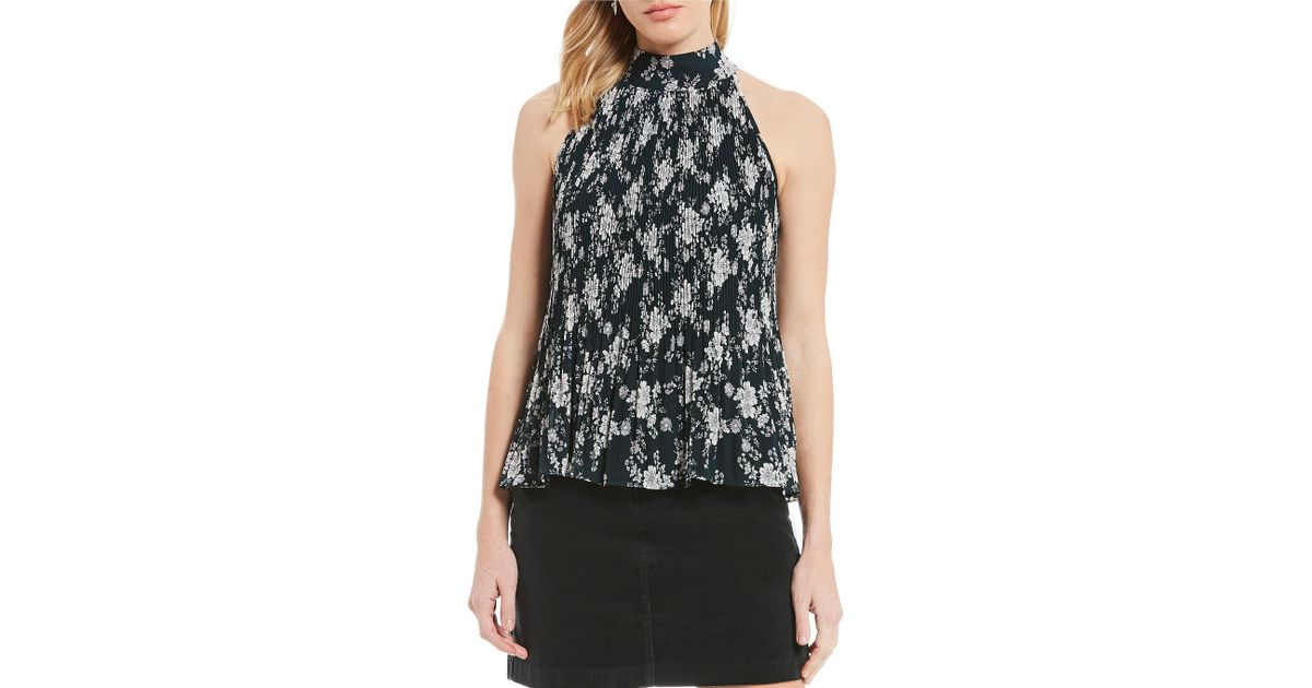 4d7f962bfeb20 Lyst - 1.State Gauze Chiffon Pleated Floral Print Halter Top in Black