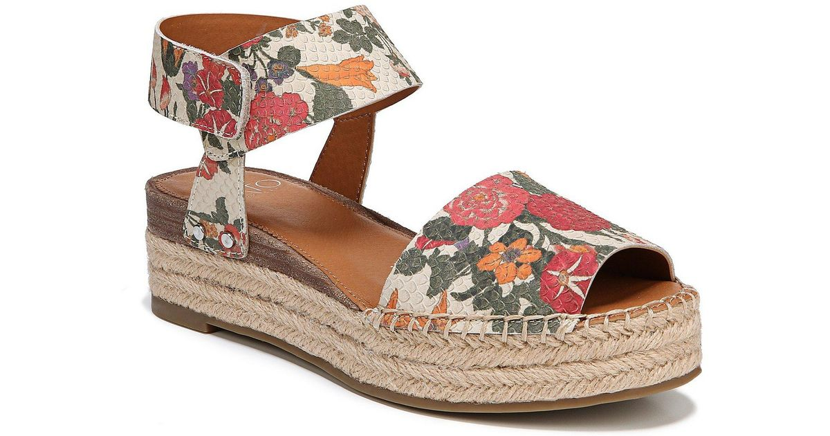 0e60f06dda9c7a Lyst - Franco Sarto Sarto By Oak Blossom Snake Embossed Ankle Strap Espadrille  Sandals in Brown