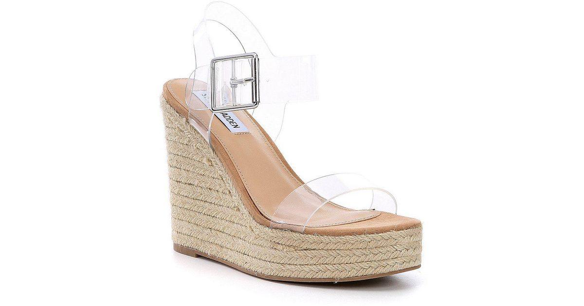 2a4879c60268 Lyst - Steve Madden Splash Clear Transparent Banded Espadrille Wedge Sandals  in Natural