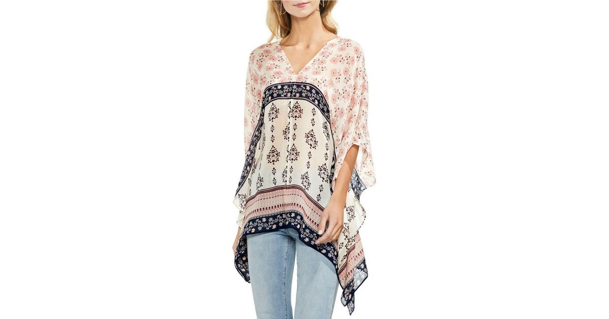 f8a4d9ff9 Vince Camuto Printed Poncho Top - Lyst