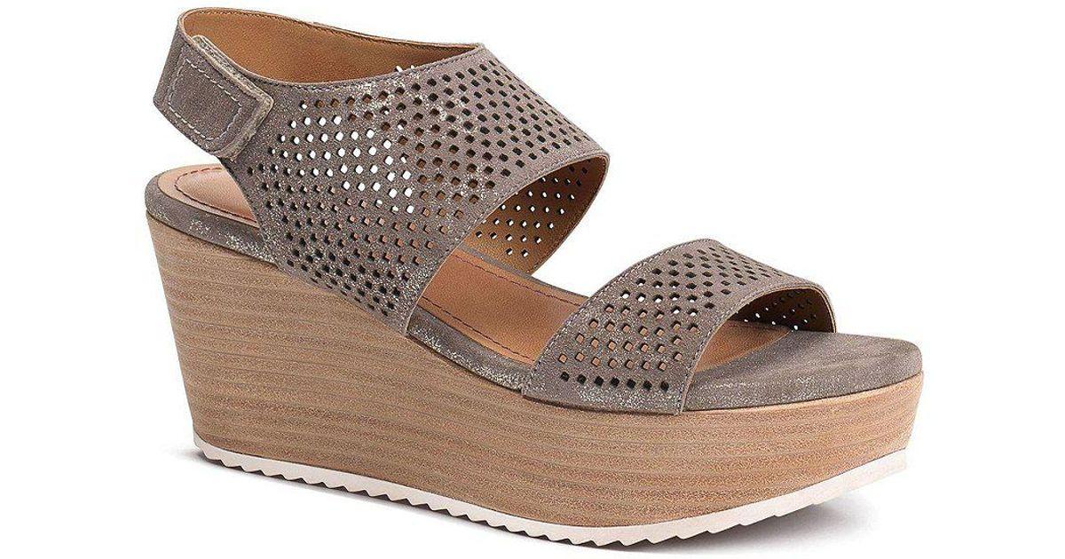 Trask Phoebe Perforated Metallic Suede Slingback Platform Wedge Sandals pNDYrm