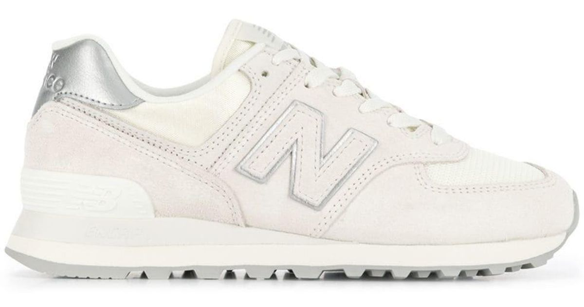 New Balance White 574 Sateen Tab Sneakers