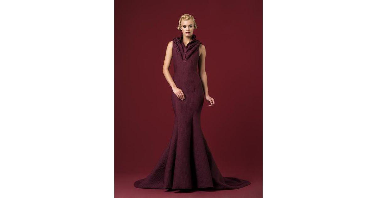 b2092964f461b Lyst - John Paul Ataker Jacquard Evening Gown in Red