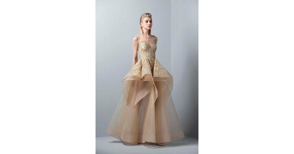 d18a8fb024e3 Saiid Kobeisy 3363 Gold Appliqued Ruffled Peplum Gown in Metallic - Lyst