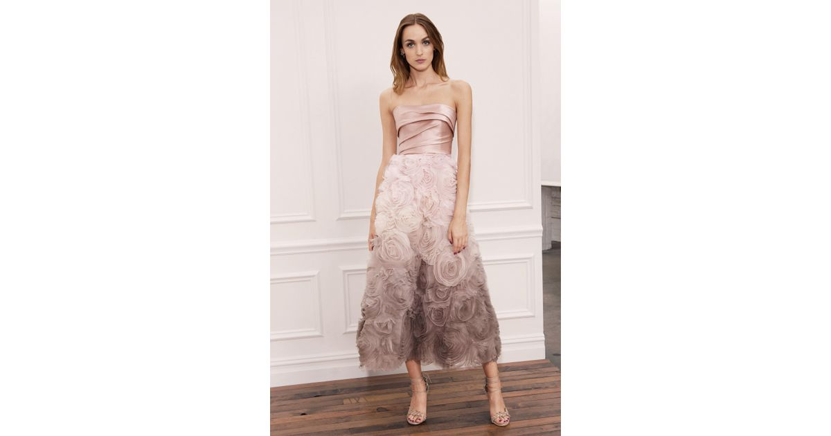 1201220d3793 Marchesa notte Strapless Ombre Textured Midi Tea Gown in Pink - Lyst