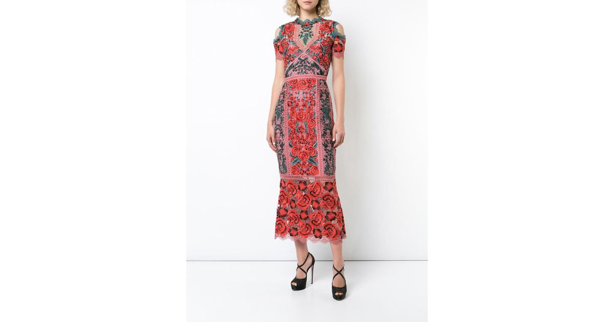 a698f413 Marchesa notte Cold Shoulder Guipure Lace Tea Length Cocktail With Trims  (red) Women's Dress in Red - Lyst