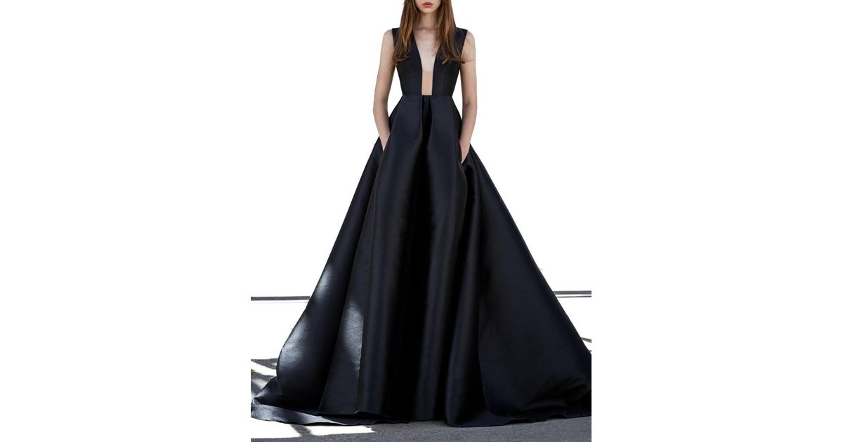 Alex Perry Axel-black Italian Silk Sleeveless Ball Gown