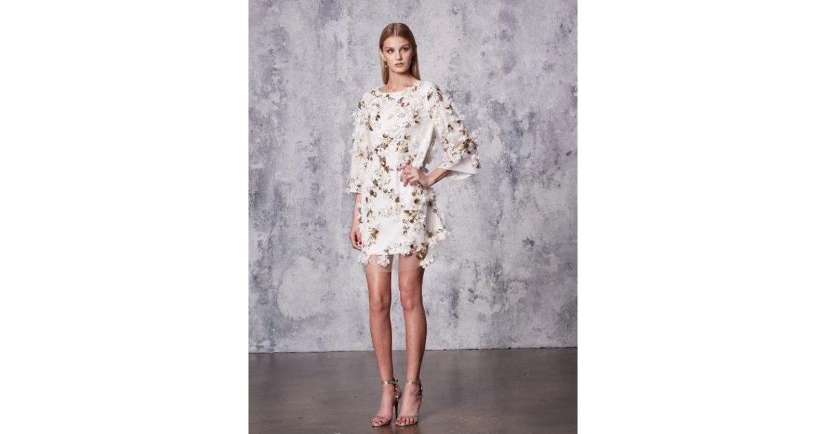 c3c485f4d99 Marchesa notte Ivory Embellished 3d Floral Sequin Tunic Cocktail Dress in  White - Lyst