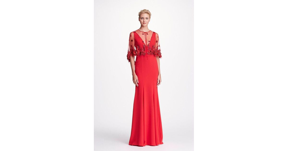 Lyst - Marchesa Notte 2-piece Red Crepe Evening Gown W/ Cape in Red