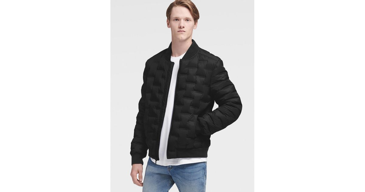Dkny Quilted Bomber Jacket In Black For Men Lyst